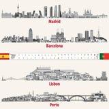 Wektorowe linie horyzontu Madryt, Barcelona, Lisbon i Porto miasta w popielatym, ważą kolor paletę Flaga i mapy Hiszpania i Portu ilustracja wektor