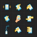 Wektorowe mądrze telefon ikony na Czarnym tle Fotografia Royalty Free
