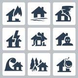 Wektorowe majątkowego ubezpieczenia ikony Zdjęcie Royalty Free