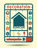 Wektorowe meblarskie płaskie ikony stwarzają ognisko domowe dekorację Fotografia Stock