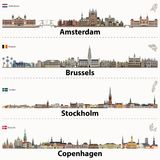 Wektorowe miasto linie horyzontu Amsterdam, Bruksela, Sztokholm i Kopenhaga, Zdjęcie Stock