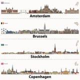Wektorowe miasto linie horyzontu Amsterdam, Bruksela, Sztokholm i Kopenhaga, ilustracji