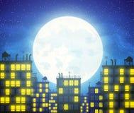 Wektorowe miasto linie horyzontu z chmurnym blaskiem księżyca ilustracja wektor
