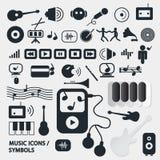 Wektorowe muzyczne ikony ustawiać Zdjęcie Royalty Free