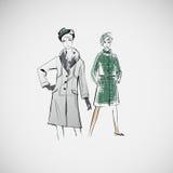 Wektorowe nakreślenie dziewczyny w modzie odziewają eps Fotografia Royalty Free