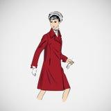 Wektorowe nakreślenie dziewczyny w modzie odziewają eps Zdjęcie Stock
