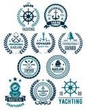 Wektorowe nautyczne morskie heraldyczne ikony dla jachtingu Fotografia Royalty Free