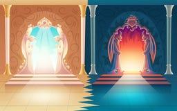 Wektorowe nieba i piekła bramy Życia pozagrobowe wejście royalty ilustracja
