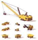 Wektorowe niskie poli- górnicze maszyny royalty ilustracja