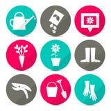 Wektorowe ogrodnictwo ikony - narzędzia Ustawiający w Retro stylu ilustracja wektor