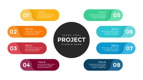 Wektorowe okrąg strzała infographic, cyklu diagram, etykietki wykres, majcher prezentaci mapa Biznesowy pojęcie z 8 Zdjęcie Stock