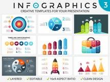 Wektorowe okrąg strzała infographic set, cykli/lów diagramy, zaczynają up wykres, prezentaci pasztetowa mapa Obrazy Stock