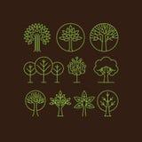 Wektorowe organicznie drzewne ikony Fotografia Royalty Free