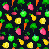 Wektorowe owoc, warzywa, jagoda bezszwowy wzór w modnym mieszkanie stylu royalty ilustracja