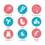 Wektorowe płaskie ikony czerwienie, błękitne set porady dla kobieta w ciąży ilustracji