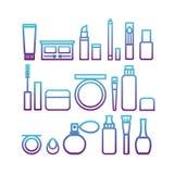 Wektorowe płaskie ikony kobiety ` s kosmetyk i piękno produkty Zdjęcie Royalty Free