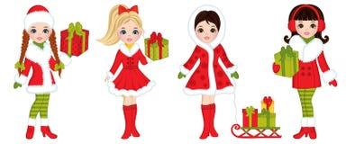 Wektorowe Piękne młode dziewczyny z Bożenarodzeniowymi prezentami ilustracji