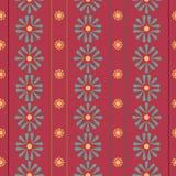 Wektorowe Pionowo Ludowe stokrotki z lampasami na czerwonym bezszwowym deseniowym tle royalty ilustracja
