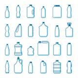 Wektorowe plastikowe butelki w konturu stylu ilustracji