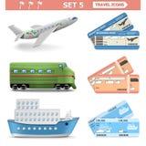 Wektorowe podróży ikony Ustawiają 5 ilustracja wektor