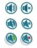 Wektorowe proste głośnikowe ikony Zdjęcia Royalty Free