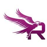 Wektorowe purpury Stawiają czoło jastrzębia R Początkowego loga fotografia stock