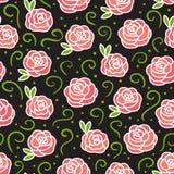 Wektorowe róże na ciemnym bezszwowym tekstura wzorze Ręka rysunek kwitnie z zielonymi kędziorami fotografia stock
