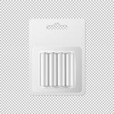 Wektorowe realistyczne białe alkaliczne AA baterie w bąblu pakowali ikona set Projekta szablon dla oznakować, mockup zbliżenie Zdjęcie Royalty Free