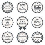 Wektorowe rocznik odznaki Najlepszy wybór, premii ilość, wysoki qua Zdjęcie Royalty Free