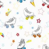 Wektorowe Rolkowe łyżwy z gwiazdami w tęczy barwią royalty ilustracja
