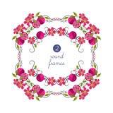 Wektorowe round ramy z granatowem i kwiatem Obrazy Royalty Free