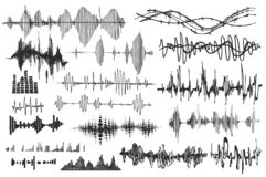 Wektorowe rozsądne fala ustawiać Audio gracz Audio wyrównywacz technologia, pulsu musical również zwrócić corel ilustracji wektor ilustracji