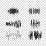 Wektorowe rozsądne fala ustawiać na przejrzystym Audio wyrównywacz technologia, muzyczny puls również zwrócić corel ilustracji we Obraz Royalty Free