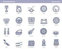 Wektorowe samochodowe części barwić kontur ikony ustawiać ilustracji