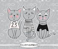 Wektorowe serie z ślicznymi moda kotami Elegancki figlarka set modny royalty ilustracja