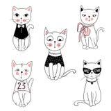 Wektorowe serie z ślicznymi moda kotami Elegancki figlarka set modny ilustracji