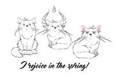 Wektorowe serie z ślicznymi wiosna kotami Elegancki figlarka set ilustracji