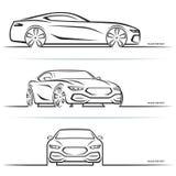 Wektorowe sporta samochodu sylwetki ilustracji