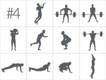 Wektorowe sylwetki ludzie robi sprawności fizycznej i crossfit treningom royalty ilustracja
