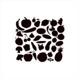 Wektorowe sylwetki owoc warzywa, jagody na białym tle ilustracji