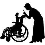 Wektorowe sylwetki pies w wózku inwalidzkim Zdjęcia Stock