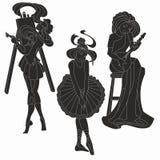 Wektorowe sylwetki sztuk kobiety Artysty muzyk ilustracji