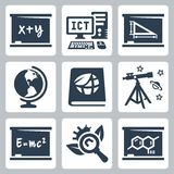 Wektorowe szkolnych tematów ikony ustawiać Obrazy Royalty Free