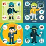 Wektorowe szpiegostwa i działalności przestępczej grafika ilustracji