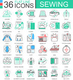 Wektorowe Szwalne mieszkanie linii konturu ikony dla apps i sieć projekta Szwalna ikona Obrazy Royalty Free