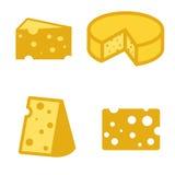 Wektorowe żółte ser ikony ustawiać Zdjęcie Stock