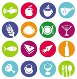 Wektorowe ustalone lub restauracyjne ikony i jedzenie Obraz Royalty Free