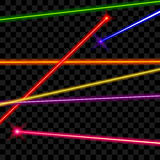 Wektorowe wiązki laserowe na przejrzystym szkockiej kraty tle Fotografia Stock