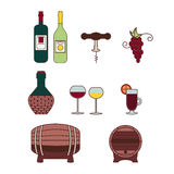 Wektorowe wino ikony Obrazy Royalty Free