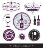 Wektorowe wino rzeczy, etykietki i ilustracja wektor